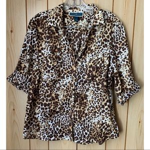 Karen Scott Petite Cheetah Print Blouse